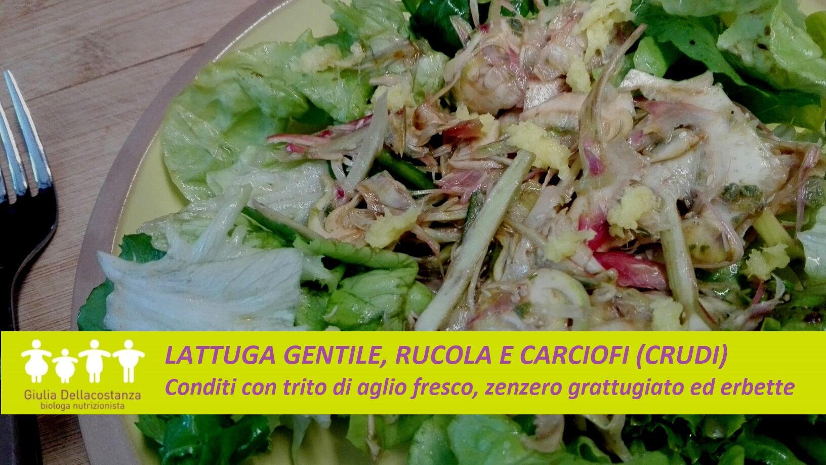 Insalata con verdure crude primaverili, con carciofi a crudo e zenzero.