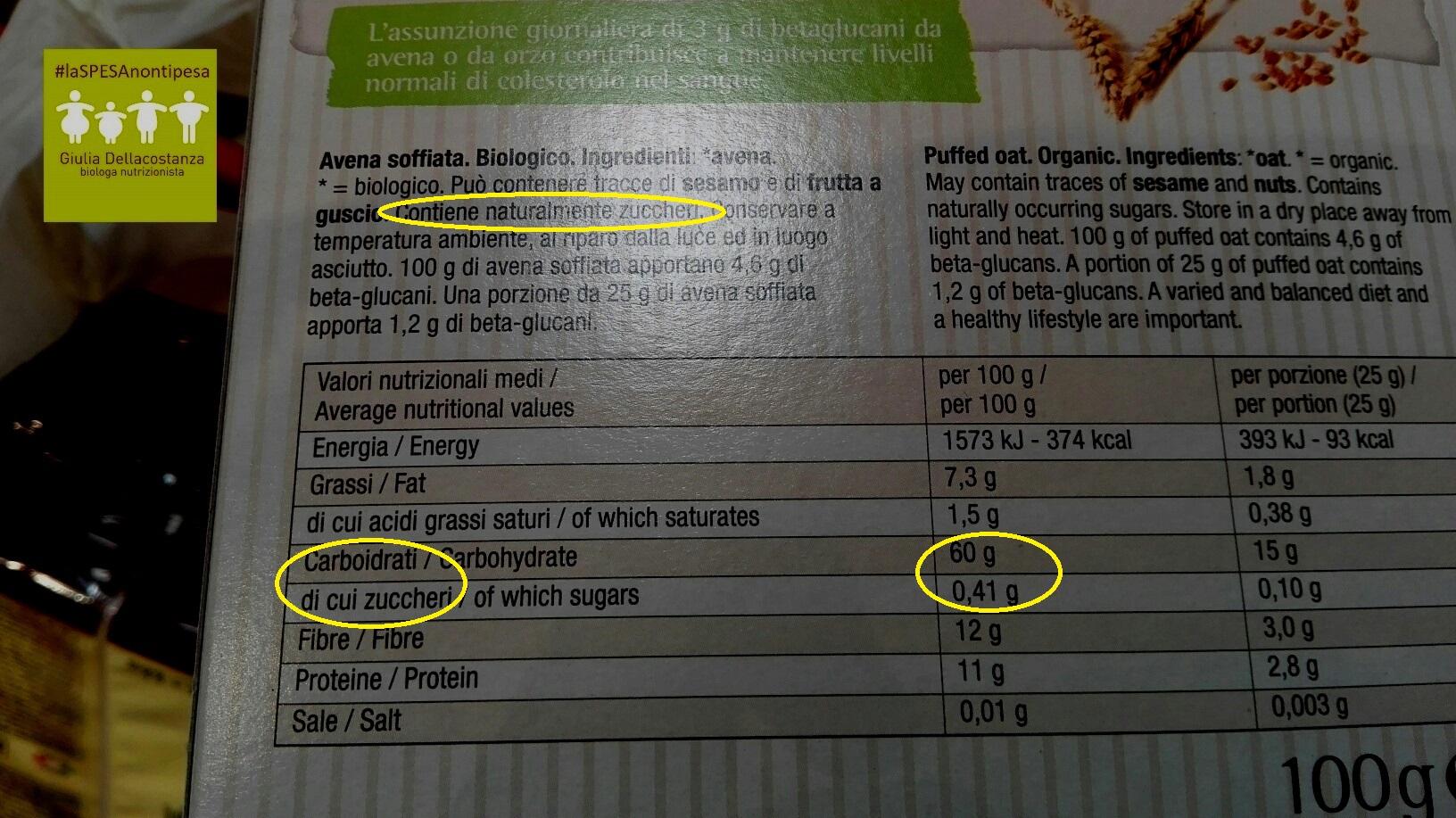 Etichetta avena soffiata - zuccheri.