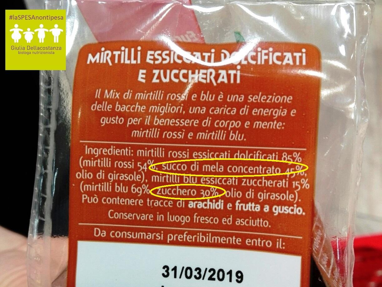 Etichetta mirtilli - zuccheri.