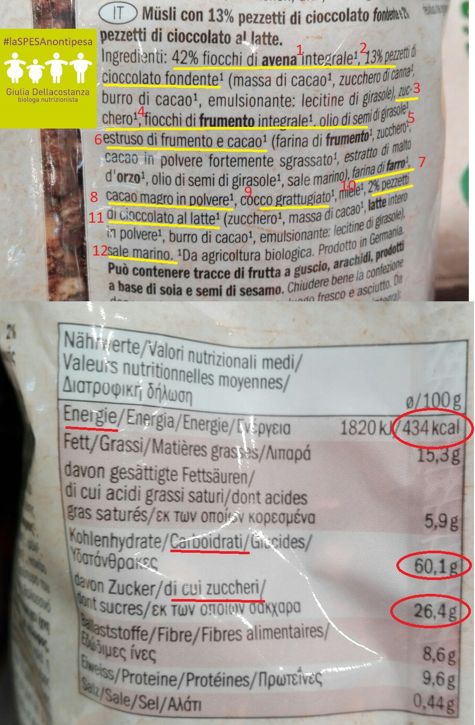 Etichetta crunchy biologico al cioccolato.