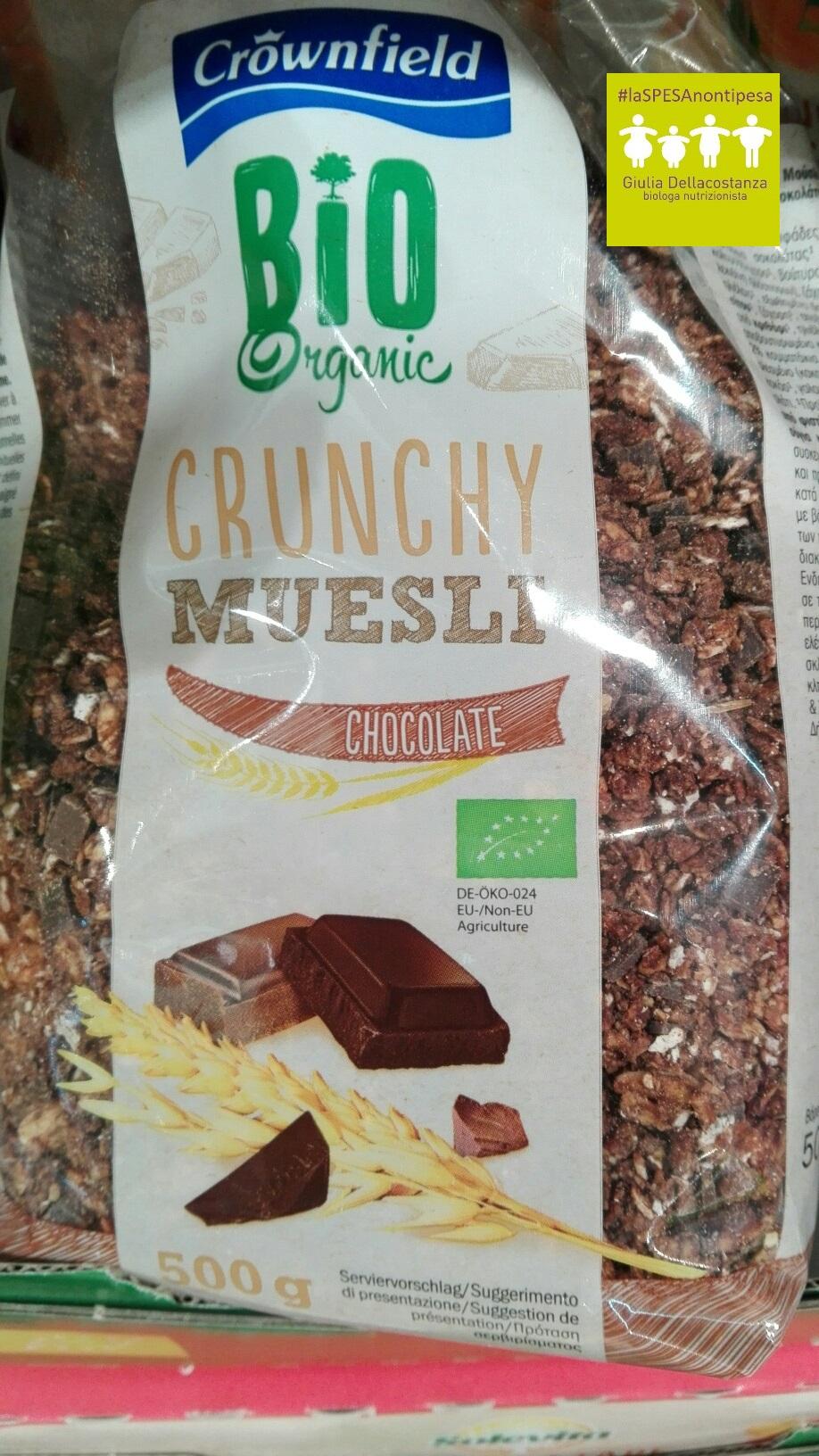 Crunchy biologico al cioccolato per una giusta colazione.