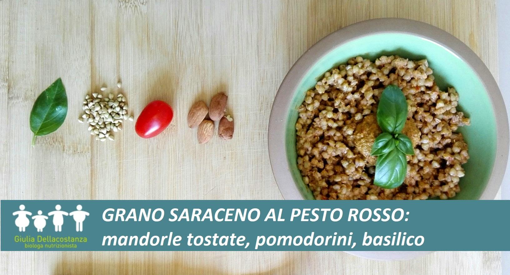 Ricette per l'estate - Grano saraceno condito con pesto a base di pomodoro, mandorle e basilico.