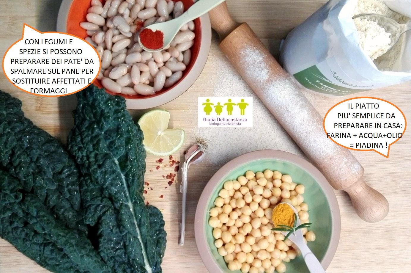Tagliere ingredienti per farcire una piadina.