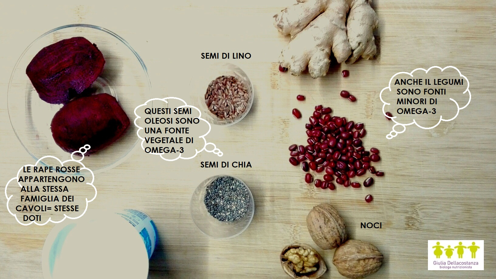 Tagliere ingredienti omega-3.