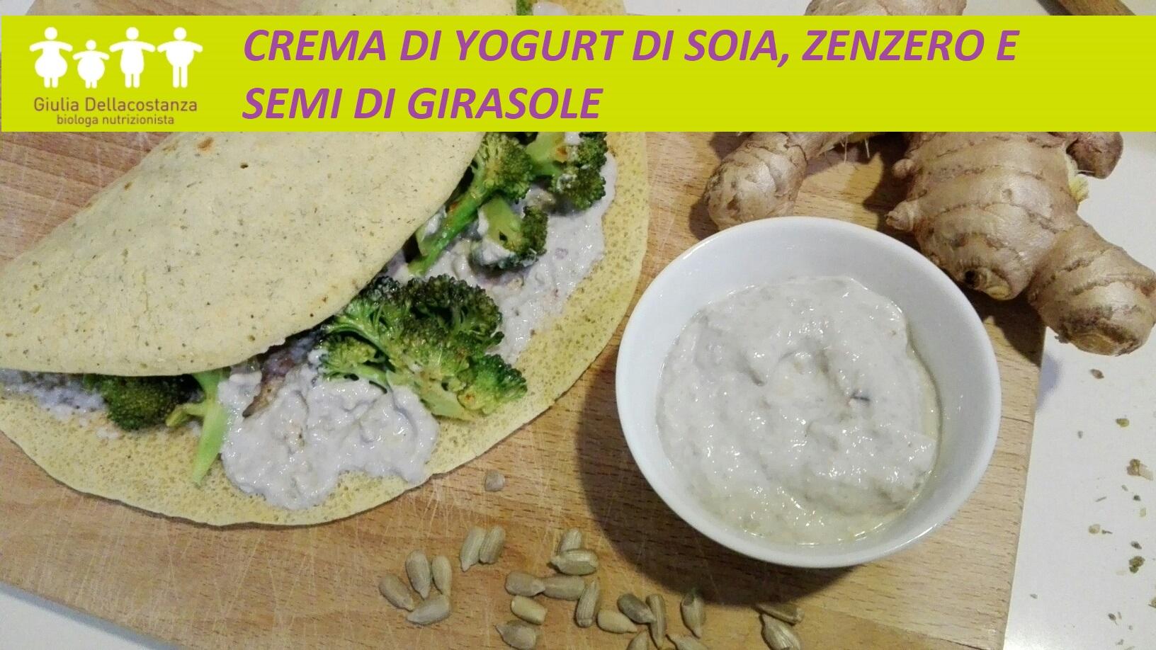 Crema di yogurt di soia, zenzero e semi di girasole