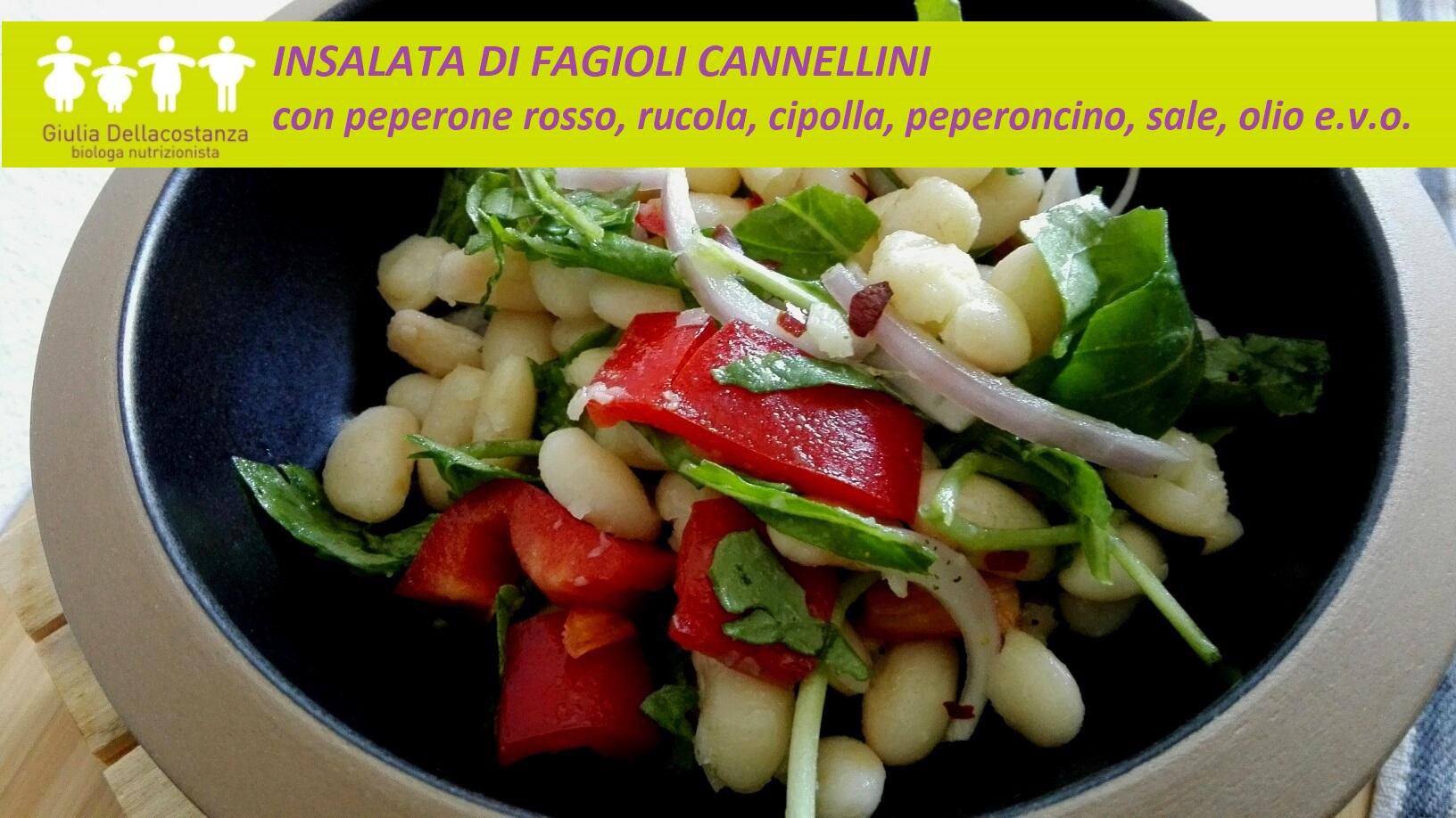 insalata di fagioli cannellini, peperone rosso, cipolla e rucola
