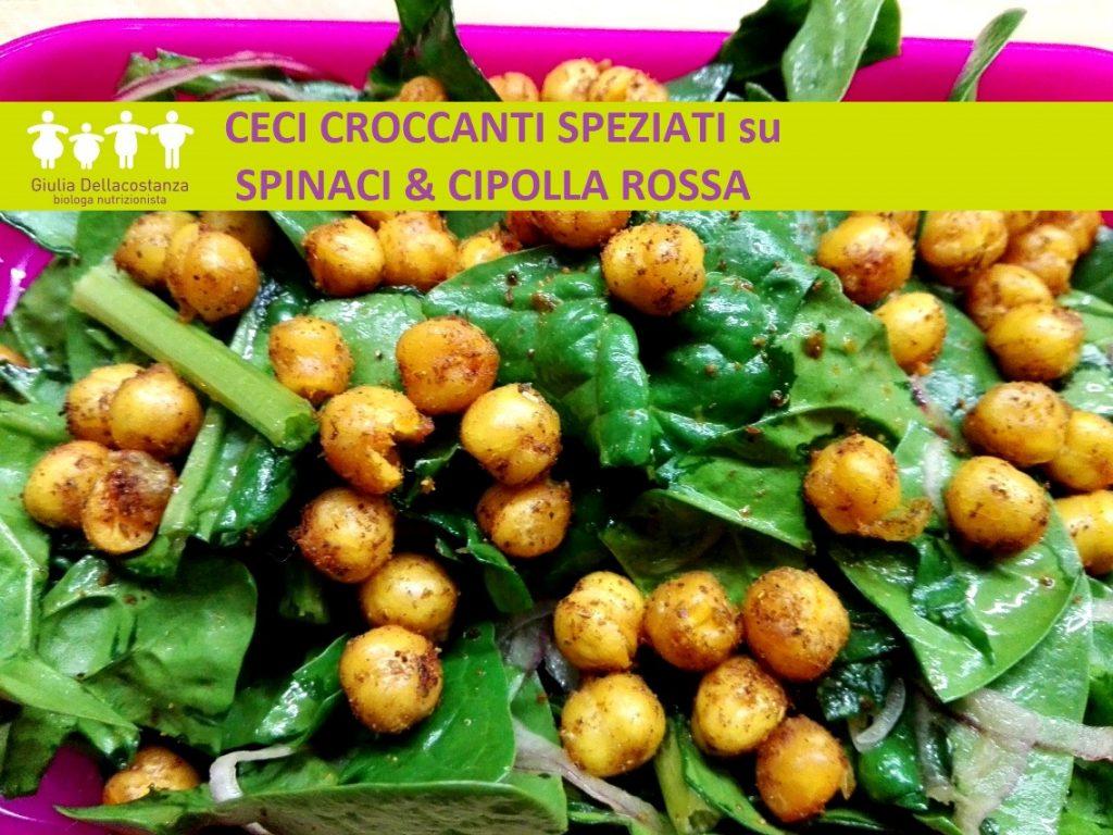 insalata di ceci croccanti con spinaci