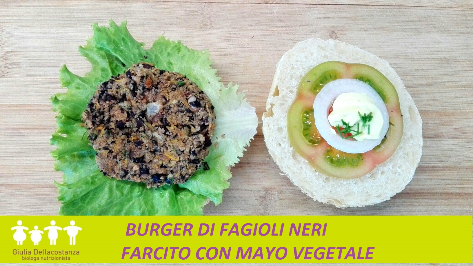 Legumi d'estate - Hamburger di fagioli neri con maionese.