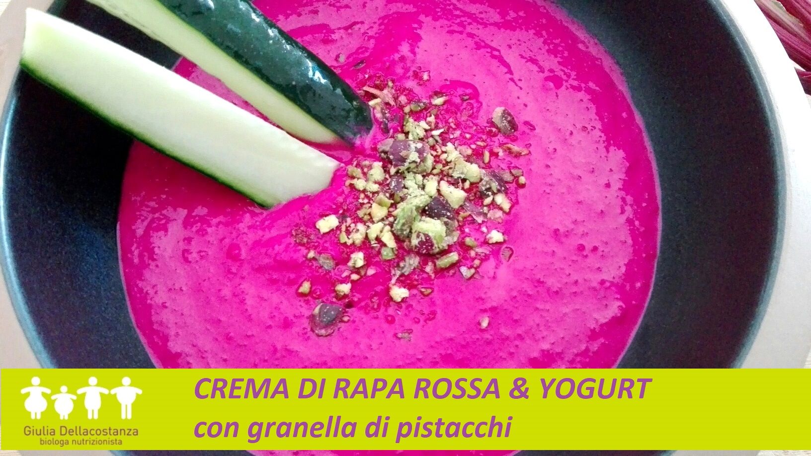 Ti Cucino La Dieta - crema di rapa rossa e yogurt con granella di pistacchi.