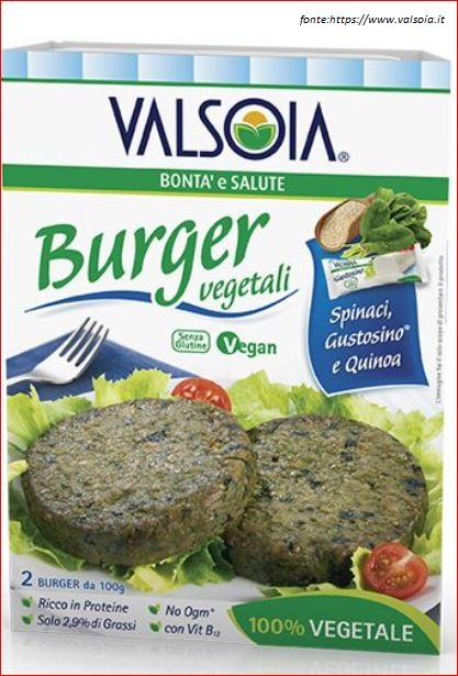 Burger a base di soia e spinaci.