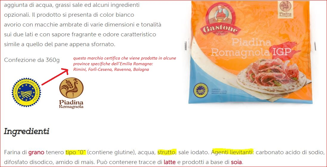 ingredienti piadina romagnola I.G.P.
