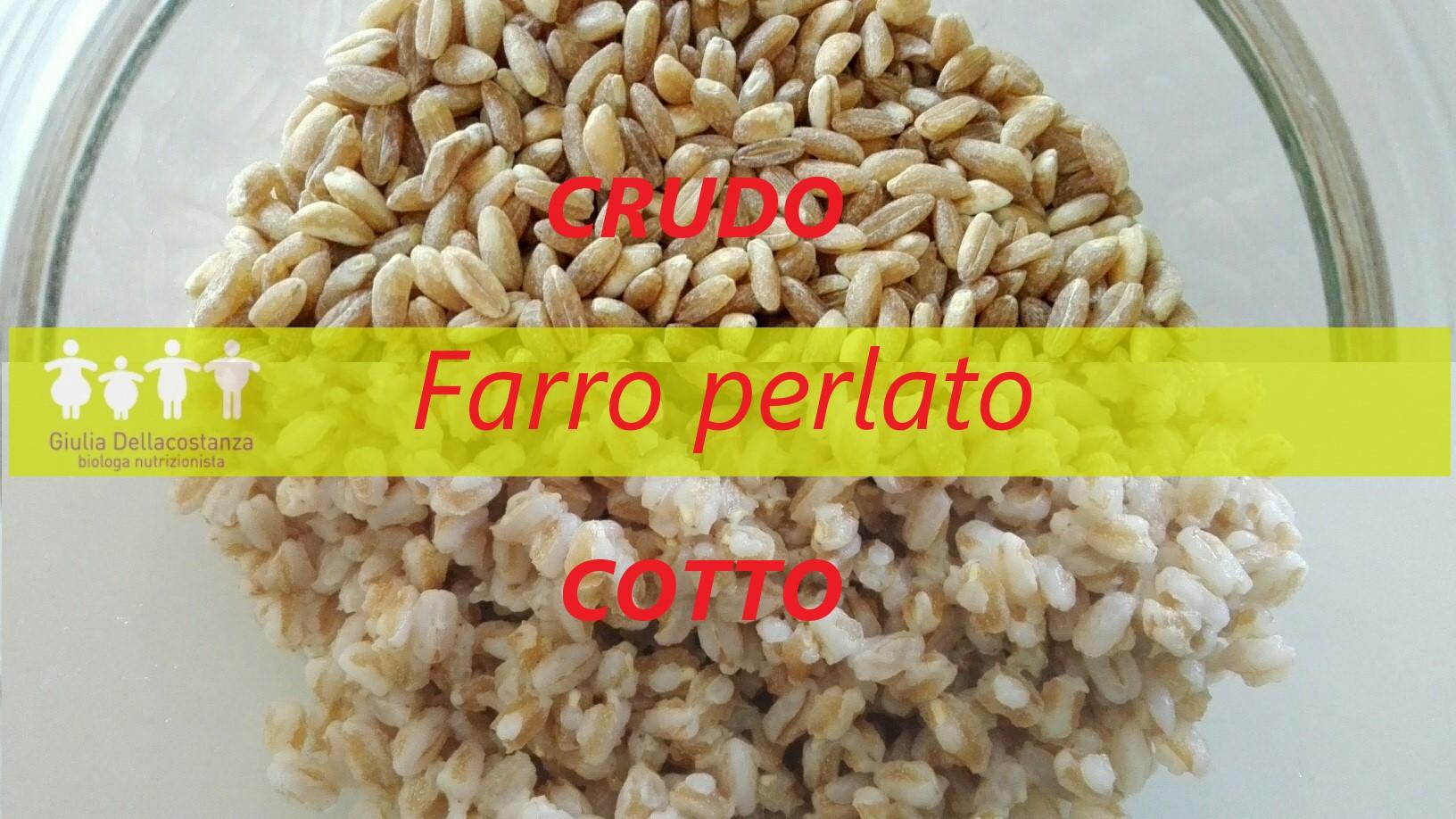 variazioni di peso dei cereali integrali prima e dopo cottura